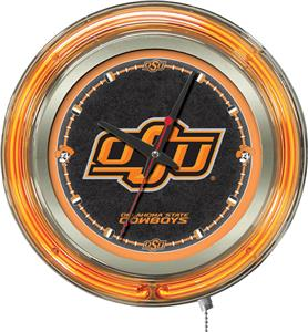 Holland Oklahoma State University Neon Logo Clock