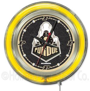 Holland Purdue Neon Logo Clock