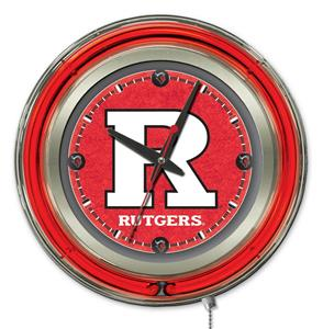 Holland Rutgers Neon Logo Clock