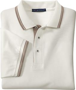 Port Authority Adult Silk Touch Stripe Trim Polos