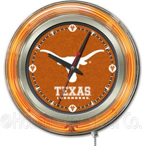Holland University of Texas Neon Logo Clock