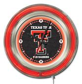 Holland Texas Tech University Neon Logo Clock