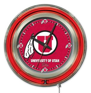 Holland University of Utah Neon Logo Clock
