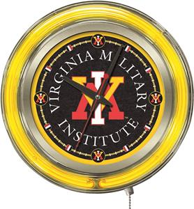 Holland Virginia Military Inst. Neon Logo Clock