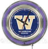 Holland University of Washington Neon Logo Clock