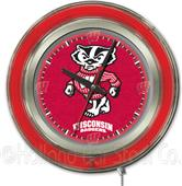Holland Univ of Wisconsin Badger Neon Logo Clock