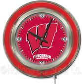 Holland Univ of Wisconsin W Neon Logo Clock