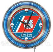 Holland United States Coast Guard Neon Logo Clock