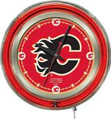 Holland NHL Calgary Flames Neon Logo Clock