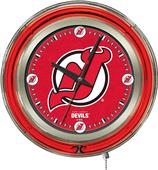 Holland NHL New Jersey Devils Neon Logo Clock