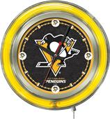 Holland NHL Pittsburgh Penguins Neon Logo Clock