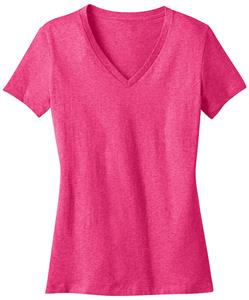 District Made Ladies' Perfect Weight Pink V Tees