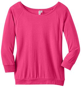 District Made Ladies' Modal Blend 3/4 Pink Raglan