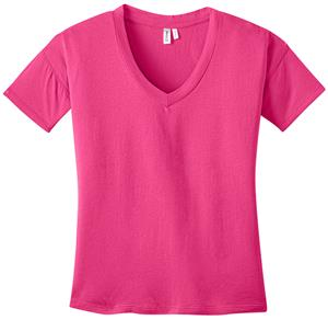 District Made Ladies' Modal Blend Pink V-Neck Tee