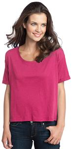 District Juniors Modal Blend Boxy Pink Tee Shirts