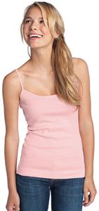 District Juniors 1x1 Rib Spaghetti Strap Pink Tank