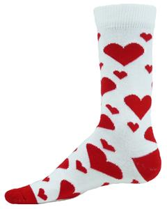 Red Lion Crush Heart Pattern Crew Socks - Closeout
