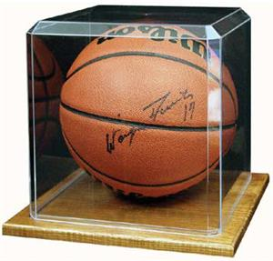 Basketball Soccer Display Case With Wood Base
