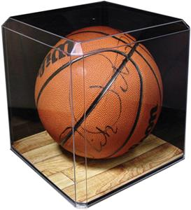 Basketball Display Case With Custom Graphic Base