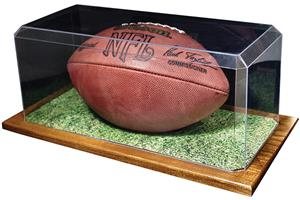 Football Display Case With Wood Base