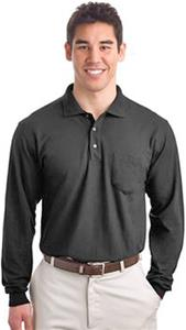 Port & Company Long Sleeve Silk Polo with Pocket