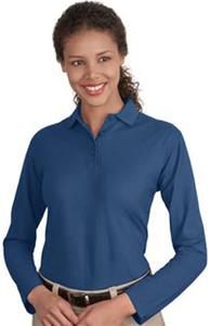 Port & Company Ladies Long Sleeve Silk Touch Polos