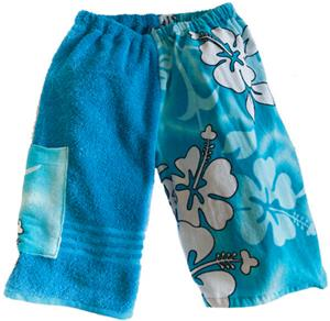 Kiki's Nation Aqua Hibiscus Towel Jammers Shorts