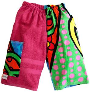 Kiki's Nation Pink Peace Sign Towel Jammer Shorts