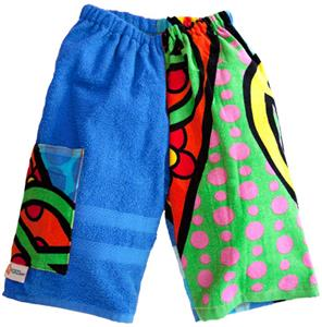 Kiki's Nation Multi Peace Sign Towel Jammer Shorts