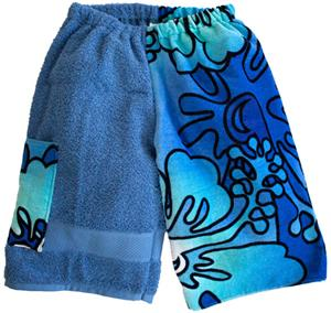 Kiki's Nation Teal Hibiscus Towel Jammer Shorts