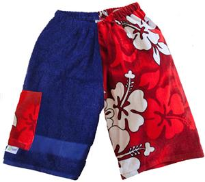 Kiki's Nation Red Hibiscus Towel Jammers Shorts