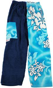Kiki's Nation Aqua Hibiscus Towel Pants