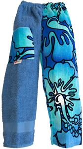 Kiki's Nation Teal Hibiscus Towel Pants