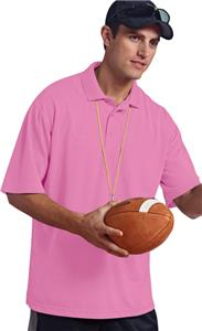 Paragon Adult Solid Mesh Pink Polo Shirt