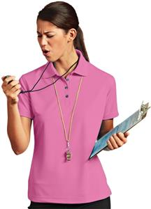 Paragon Women's Solid Mesh Pink Polo Shirt