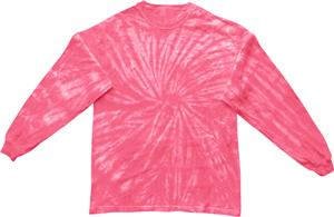Colortone Spider Pink Tie Dye Long Sleeve T-Shirts