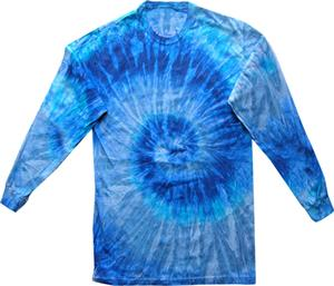 Colortone Blue Jerry Tie Dye Long Sleeve Tee Shirt