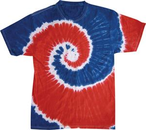 Colortone Royal/Red Tie Dye Short Sleeve T-Shirts