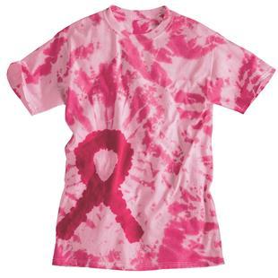 Dyenomite Breast Cancer Ribbon Tie Dye SS T-Shirts