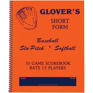 Glover's Short Form Baseball Softball Scorebook