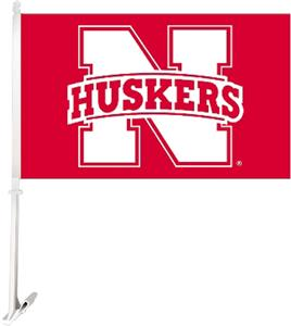 "COLLEGIATE Nebraska 2-Sided 11"" x 18"" Car Flag"