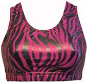 Gem Gear Pink Metallic Zebra Racer Back Sports Bra