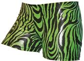Gem Gear Compression Green Metallic Zebra Shorts