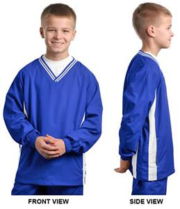 Sport-Tek Youth Tipped V-Neck Raglan Wind Shirt
