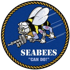 "Fan Mats Navy Seabees 44"" Round Area Rug"