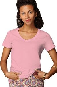 Anvil Pink Women's Sheer V-Neck T-Shirts