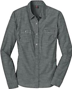 District Made Ladies LS Washed Woven Shirt