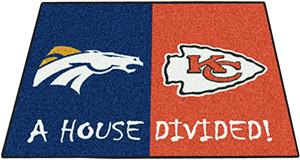 Fan Mats Broncos / Chiefs House Divided Mat