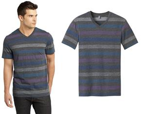 District Young Men's Reverse Striped V-Neck Tee