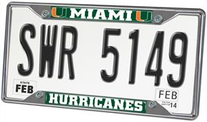 Fan Mats University of Miami License Plate Frame